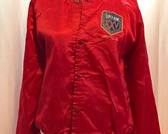 Super Bowl 25 Windbreaker, XXV Game Stadium Jacket, Size Large, Vintage 90's January 27, 1991, Super Bowl Memrobilia