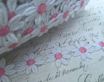 Pure White Daisy with Strawberry Pink Centers Chain Venise Lace Trim One inch wide