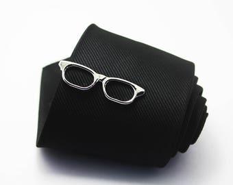 Glasses Tie Clip, Classic Tie Clip, Fashion Collocation, Silver Tie Clip, Novelty Accessories, Gift For Man