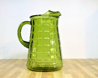 Vintage Green Glass Pitcher Quilted Square Pattern