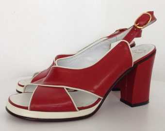 70s Vintage Amalfi Rangoni Sandals Platform Chunky Block Heel Shoes Heels Red White Criss Cross Italian Leather Italy Entrata Heels 6 B