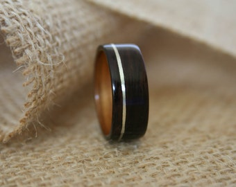 Men's Wooden Wedding Band with Sterling Silver Inlay in Macassar Ebony Wood with Koa Wood Lining-Hand Crafted Wooden Ring