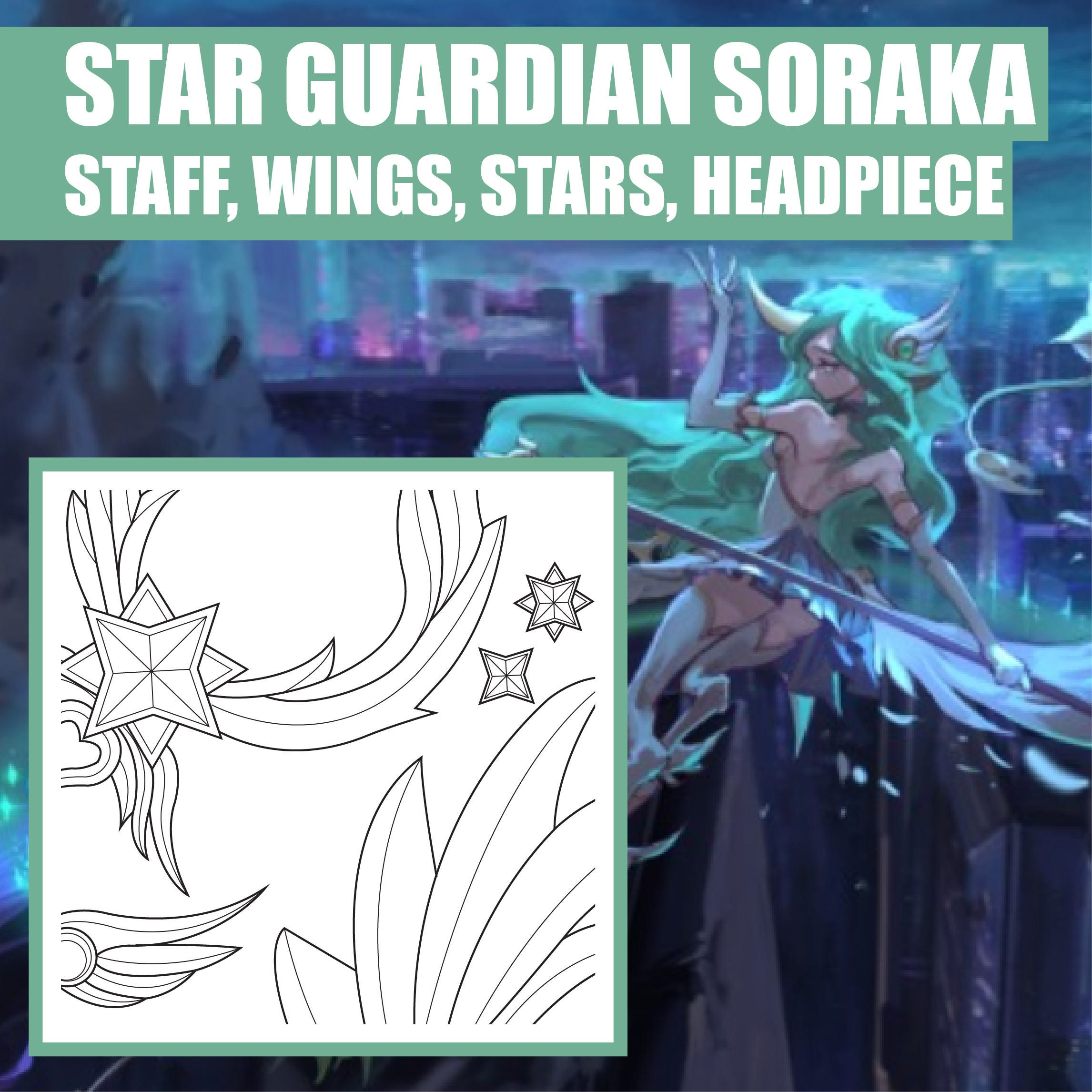 Star Guardian Soraka Staff Wings Stars Headpiece