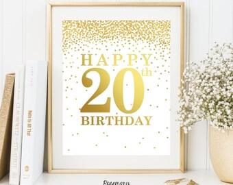 Happy 20th Birthday, Printable 20th birthday decor, 20th birthday sign, Birthday party decorations, Birthday Printable Banner,8x10 Printable