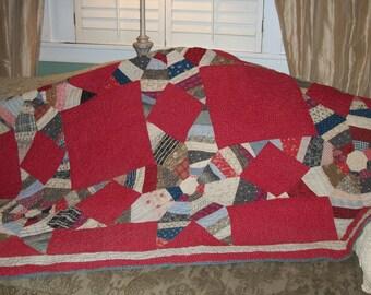 Antique Star Quilt Primitive Farmhouse Americana Prairie Point Antique Red White Blue Quilt
