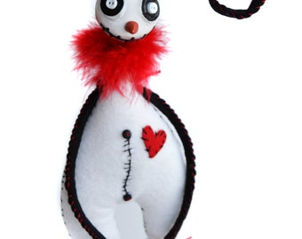 Goth Snowman - Spooky Snowman - Spooky Christmas - Buttom Eyed Doll - MADE TO ORDER