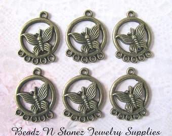 Antique Brass 26x20mm Circle With Butterfly With 5 Bottom Loops Pendant Charms - 4 Pcs