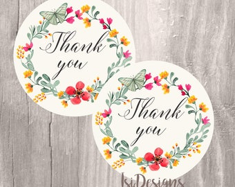 Printable favor tags, wreath floral thank you tags, INSTANT DOWNLOAD, prinatable tags wedding, baby shower, bridal shower favor tags