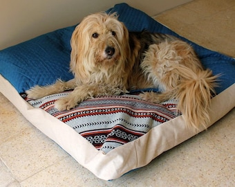 Dog Bed Cover-Denim Dog Bed Cover-Light Sand Color-Two Covers in One-Bohemian dog bed covers-Box style covers-Heavy Duty Zipper-Washable