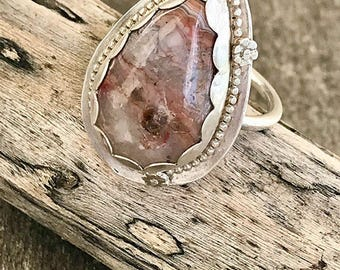 Artisan Crazy Lace Agate bague en argent Sterling / Cocktail anneau / Smith bague en argent / One of a Kind / taille 8