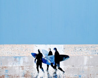 """Print of Surfers, Surfers Print, Gift for Surfer, Summer Art, Summer Wall Art, Surfboard, Print of """"Summer Blue"""" by Melanie McDonald"""