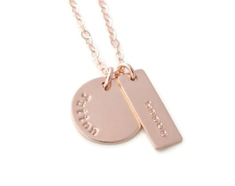 Hand Stamped Rose Gold Two Name Mothers Necklace, Personalized Two Charm Rose Gold Jewelry