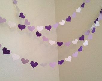 Papel púrpura corazones Garland bebé ducha boda decoración despedida de soltera decoración cumpleaños guirnalda personalizada Color de la decoración 10ft