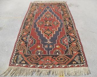 Large Red kilim rug, 58'' x 116'', red area rug, Kilim rug, Vintage Turkish rug, kelim rug, vintage bohemian rug, eccentric rug, rustic