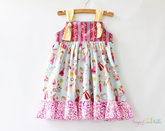 Dancing Princesses Knot Dress, Girl's Sizes:  12-18mo, 2T, 3/4T, 5/6, 7/8