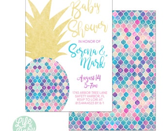 Pineapple Baby Shower Invitation | Aloha Baby Shower Invitation | Luau Invitation | Pineapple Invitation- 5x7 with reverse side