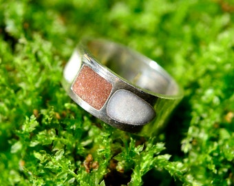 Geometric Ring in Solid Sterling Silver with Chocolate and Snowdrift Resin Accents One of a Kind
