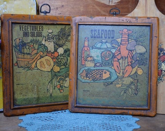 2 Matching Vintage Kitchen Seafood and Vegetables and Salads Wooden Plaque Board with Ring for Wall Hanging