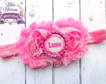 Baby Headband, Personalized Baby Girl Headband, Pink Shabby Chic Headband, Newborn Headband, Personalized Pink Baby Bow, Baby Bow With Name