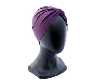 Purple Turban Hat Women's Hat Turban Beanie Wool Turban Winter Turban Soft Turban Chemo Turban Handmade Turban Chemo Hat Hairloss Hat