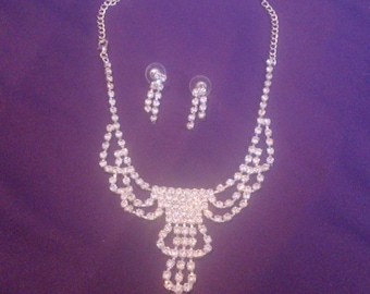 Clear Rhinestone Silver Tone Necklace and Earring Statement Demi Parure
