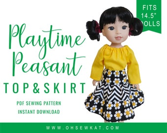 """Wellie Wishers Doll Clothes Sewing Pattern fits 14.5"""" dolls like WellieWishers™ Playtime Peasant Top and Twirl Skirt PDF pattern Oh Sew Kat!"""