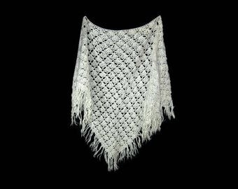 80's large light grey crocheted triangle shawl, Hand made in Finland