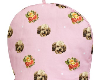 Tea cosy, dog, Poodle, British, vintage home, retro, pink