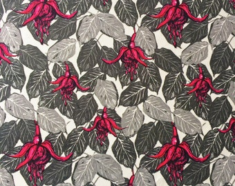 Fuchsias Leaf Fabric Velvet, bold patterned colourful textile design ideal for cushion, curtains, current tropical leaves style trend UK