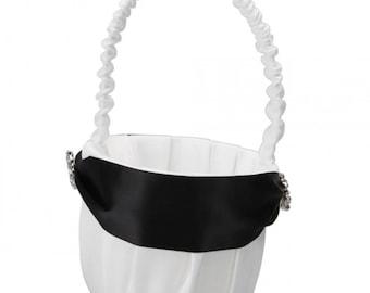 New Elegant Black Stripe Wedding Satin Flower Girl Basket Favor....Free Shipping in US!