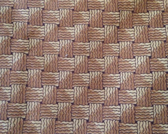 Basket weave Cotton Quilting fabric Basketweave Brown Gold