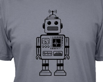 Robot Shirt - Retro Robot Tshirt - 5 Colors - Mens Cotton T Shirt - Gift Friendly - Geek Shirt / Nerd Shirt / Christmas Gift for Dad
