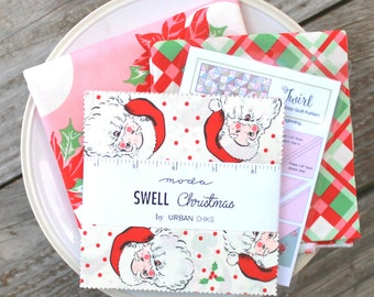 Twirl Quilt Kit ~ Swell Christmas by Urban Chiks~ Plaid Binding & Pink Poinsettia Backing