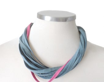 Casual Leather Necklace for Women, Teal and Pink Leather Bib Necklace, Handmade Multistrand Necklace,  Leather Jewelry
