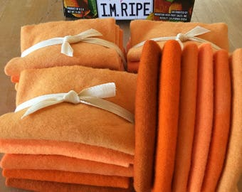 Orange Six Pack Bundle Hand Dyed Wool for Rug Hooking, Rug Braiding, Wool Quilts and Wool Applique