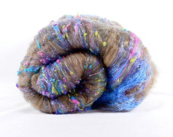 SALE 20 PERCENT OFF-  Textured Drum Carded Batt for Spinning and Felting- Silly String