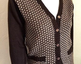 Vintage Apparel Ladies 70's Sweater, Cardigan, Brown, Tan, Long Sleeve (S) by Banff 7820 FreshandSwanky on Etsy