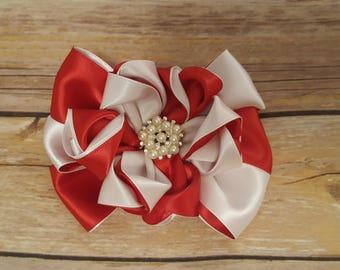 Red and white hair bow, hair clip, hair accessories, ruffle bow, hair bow for girls, hair bow for women, elegant hair bow, ruffle flower