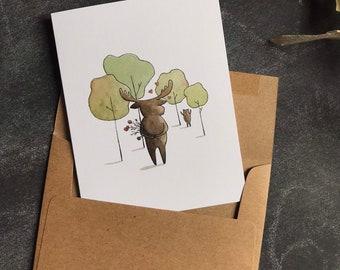 Birthday Cards Moose - Birthday Cards Bear - Greeting Cards Love - Wedding Cards - Woodland Birthday - Watercolor Cards - Whimsical Cards
