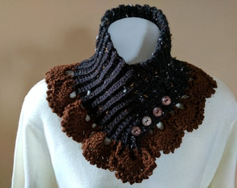 Fabulous Neck Warmer Crocheted in Flecked Black Yarn with Brown Lace Trim - Scarf Alternative