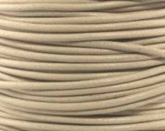 "2mm Round Petal Ivory Leather Lace Cord - 2mm 3/32"" Cream Beige Diameter Craft Jewelry Bracelet Wrap Necklace - I ship Internationally"