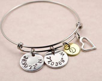 Personalized Coordinate Bracelet - Valentine's Day Gift - Custom Engraved Latitude Longitude Charm Bracelet - Long Distance Relationship