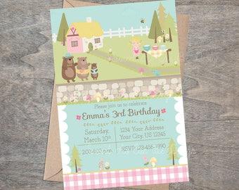 Goldilocks Printable Invitation Three Bears Storybook