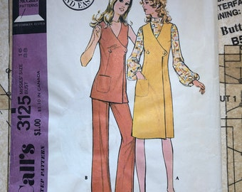 Vintage Misses 70s Jumper Sewing Pattern Size 16 Mccalls 3125 M3125 Jumper, Top, and Pants Front Wrap Asymmetrical Elastic Waist 1970s