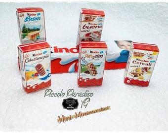 Italian Miniature Food, Handmade, confezioni a scelta kinder ferrero in miniature dolls house in 1:12 th scale
