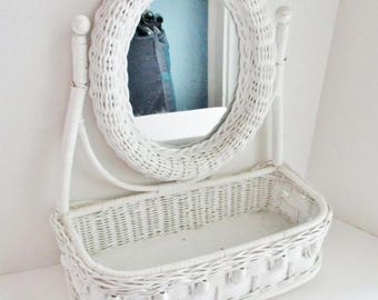 Vintage Wicker Vanity White Tabletop Vanity with Oval Mirror Cosmetic Basket with Mirror