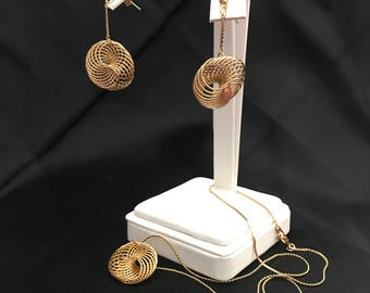 Vintage Gold Tone Spiral Pendant W/Chain And Drop Spiral Earrings Set 70's