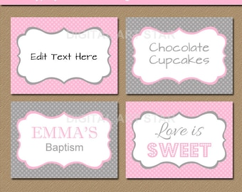 EDITABLE Pink Grey Printable Buffet Cards, Tent Cards, - Bridal Shower Place Cards, Baby Shower, Birthday DIY Food Labels Instant Download