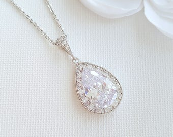 Crystal Pendant Wedding Necklace Simple Drop Necklace for Brides Cubic Zirconia Bridesmaid Teardrop Necklace Wedding Jewelry, Evelyn