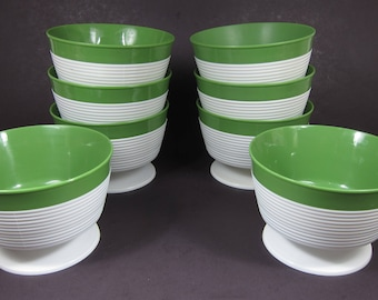 Vintage Raffiaware Thermo Temp Ice Cream Cups Bowls Dishes Green White Set of 8